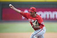 Potomac Nationals relief pitcher Steven Fuentes (31) in action against the Winston-Salem Rayados at BB&T Ballpark on August 12, 2018 in Winston-Salem, North Carolina. The Rayados defeated the Nationals 6-3. (Brian Westerholt/Four Seam Images)