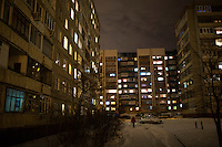 Apartment buildings at night in Ufa, Bashkortostan, Russia.