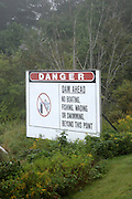 "Danger ""Dam ahead "" sign at Moore Dam  Located in Littleton, New Hampshire, USA which is part of New England"