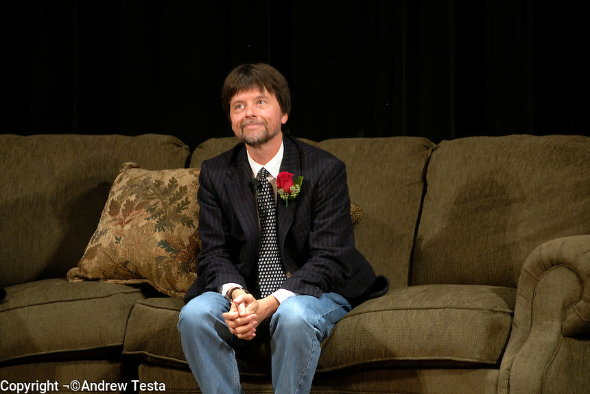 USA. Luverne.  6th September 2007.Ken Burns sits for a Q&A after the premiere of the film..©Andrew Testa/Panos for Newsweek