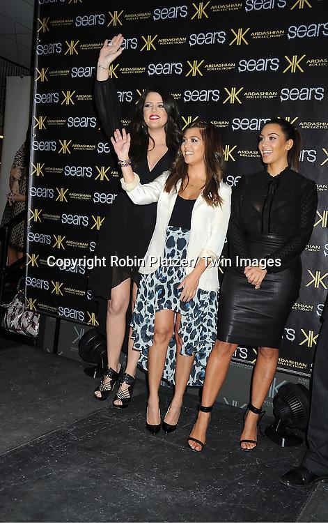 Khloe Kardashian, Kourtney Kardashian and Kim Kardashian make an appearance at the Sears in Yonkers.to celebrate the one year anniversary of their Kardashian Kollection on September 14, 2012 in Yonkers.