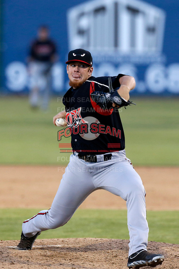 Johnny Barbato #20 of the Lake Elsinore Storm pitches against the Inland Empire 66'ers at San Manuel Stadium on June 23, 2013 in San Bernardino, California. Lake Elsinore defeated Inland Empire, 6-2. (Larry Goren/Four Seam Images)