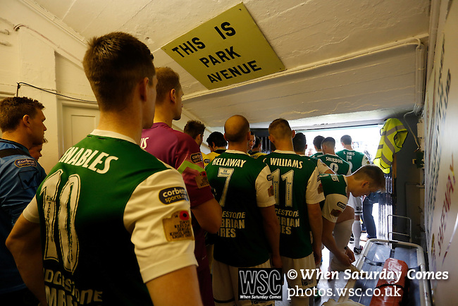 Aberystwyth Town 1 Newtown 2, 17/05/2015. Park Avenue, Europa League Play Off final. The teams wait in the tunnel for the signal for the TV producer. Aberystwyth finished 14 points above Newtown in the Welsh Premier League, but were beaten 1-2 in the Play Off Final. Photo by Paul Thompson.