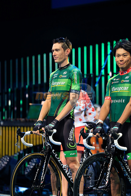 Pierre Rolland (FRA) Team Europcar on stage at the Team Presentations held in the Leeds First Direct Arena before the Grand Depart of the 2014 Tour de France. 3rd July 2014.<br /> Picture: Eoin Clarke www.newsfile.ie