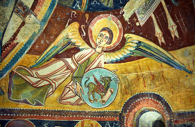 Romanesque frescoes  from the Church of Sant Miguel d'Engolasters, Les Escaldes, Andorra.. Painted around 1160. National Art Museum of Catalonia, Barcelona. MNAC 15972