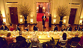 United States President Donald J. Trump (L) makes remarks as First Lady Melania Trump listens as they host a White House Historical Association dinner at the White House, May 15, 2019, in Washington, DC. The organization's goal is to promote the public's understanding, appreciation and enjoyment of the White House. <br /> Credit: Mike Theiler / Pool via CNP