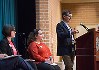 NWA Democrat-Gazette/BEN GOFF @NWABENGOFF<br /> Bill Kopsky (right), executive director of the Arkansas Public Policy Panel, moderates the discussion Saturday, Feb. 9, 2019, during the Northwest Arkansas Education Town Hall at the Jones Center in Springdale.