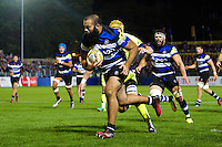 Kane Palma-Newport of Bath Rugby runs in a try. Aviva Premiership match, between Bath Rugby and Sale Sharks on October 7, 2016 at the Recreation Ground in Bath, England. Photo by: Patrick Khachfe / Onside Images