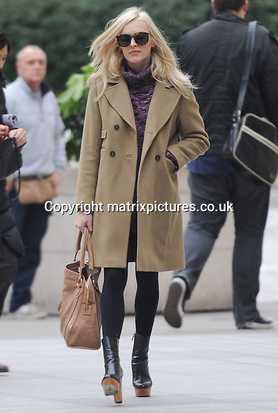 NON EXCLUSIVE PICTURE: PALACE LEE / MATRIXPICTURES.CO.UK<br /> PLEASE CREDIT ALL USES<br /> <br /> WORLD RIGHTS<br /> <br /> English media presenter Fearne Cotton is pictured as she arrives at Celebrity Juice, in London.<br /> <br /> The 32 year old wraps up warm, wearing a purple jumper and tan coat.<br /> <br /> DECEMBER 3rd 2013<br /> <br /> REF: LTN 137726