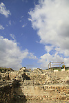 Israel, Jezreel valley, ruins of the Crusader settlement Caymont on Tel Yokneam
