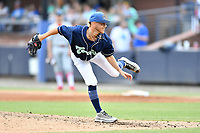 Asheville Tourists pitcher Colton Harlow (11) delivers a pitch during a game against the Lakewood BlueClaws at McCormick Field on August 3, 2019 in Asheville, North Carolina. The BlueClaws defeated the Tourists 10-6. (Tony Farlow/Four Seam Images)