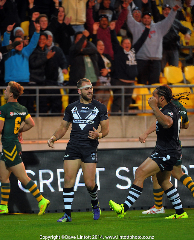 Jason Nightingale celebrates his try during the Four Nations rugby league final between the NZ Kiwis and Australia Kangaroos at Westpac Stadium, Wellington on Saturday, 15 November 2014. Photo: Dave Lintott / lintottphoto.co.nz