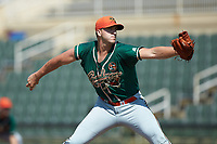 Greensboro Grasshoppers starting pitcher Colton Hock (40) in action against the Kannapolis Intimidators at Kannapolis Intimidators Stadium on August 5, 2018 in Kannapolis, North Carolina. The Intimidators defeated the Grasshoppers 9-0 in game two of a double-header.  (Brian Westerholt/Four Seam Images)