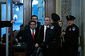 Jay Sekulow, personal lawyer for President Donald Trump, and White House counsel Pat Cipollone arrive at the United States Capitol in Washington D.C., U.S., on Saturday, January 25, 2020 to begin their defense after the House Impeachment managers spent three days presenting their case on the Senate Floor. <br /> Credit: Stefani Reynolds / CNP