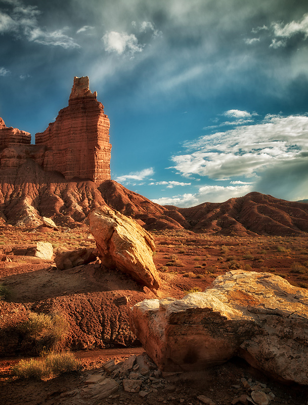 Chimney Rock with rocks and clouds. Capitol Reef National Park, Utah
