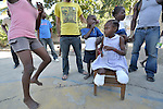 Rose Michel, a 10-year old survivor of the January 12 earthquake in Haiti, lost both her legs when the orphanage she was living in collapsed. Here she plays with other children in the orphanage, which since shortly after the quake has been run by a team of volunteers from the Dominican-Haitian Women's Movement (MUDHA).