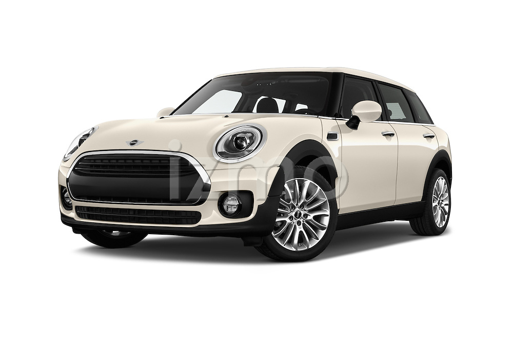 Stock pictures of low aggressive front three quarter view of 2016 MINI Clubman One 5 Door Wagon Low Aggressive
