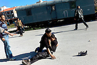 Greece/Korinth/Feb. 20.2012. Mouzdahir 20 years old from Maroco, was heavily injured after a racist murderous attack, when a car was driven towards him and his friends in their makeshift camp in the old railway station of Korinth. Racially motivated, brutal attacks and hate crimes have become an almost daily phenomenon in Greece that goes over its fifth year of recession. .Giorgos Moutafis
