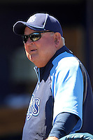 Tampa Bay Rays coach Don Zimmer #64 talking with fans before a spring training game against the Baltimore Orioles at the Charlotte County Sports Park on March 5, 2012 in Port Charlotte, Florida.  (Mike Janes/Four Seam Images)