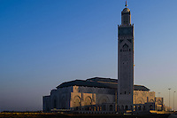 The big mosque at sunrise. The Hassan II Mosque in Casablanca, Morocco, is the largest mosque in the country and the 7th largest mosque in the world.