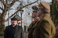 Csaba Hende Defense Minister inspect the guard of honor as the  Palace Guards take over the formal guard in front of the Sandor's Palace used as the office of the President of Hungary in Budapest, Hungary on January 07, 2012. ATTILA VOLGYI