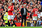 Manchester United manager Jose Mourinho looks towards Wayne Rooney after Marcus Rashford is substituted during the Premier League match at Old Trafford Stadium, Manchester. Picture date: September 24th, 2016. Pic Sportimage
