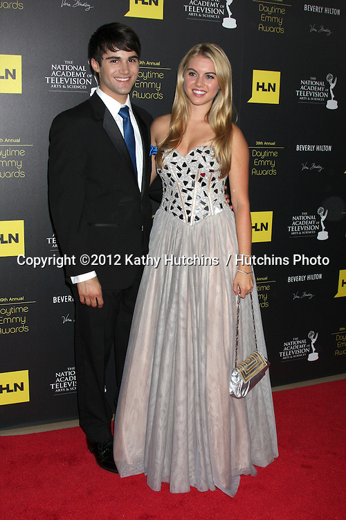 LOS ANGELES - JUN 23:  Max Ehrich, Lindsay Bushman arrives at the 2012 Daytime Emmy Awards at Beverly Hilton Hotel on June 23, 2012 in Beverly Hills, CA