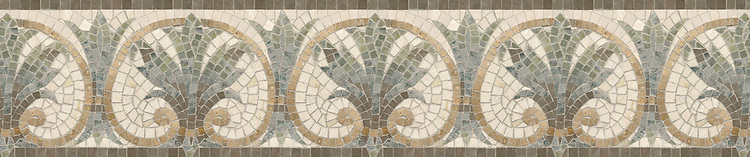 "8 1/2"" Brentina border, a hand-cut stone mosaic, shown in polished Travertine Noce, Montevideo, Salmon Moss, Verde Luna, and Botticino."