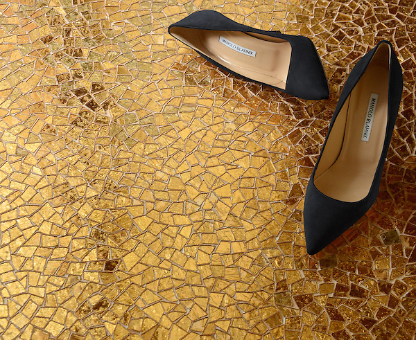 Cosmique, a handmade mosaic shown in 24K Gold Glass, is part of the Aurora® collection by Sara Baldwin for New Ravenna.