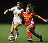Gianna Russo #10 of St. Anthony's, left, and Christina Biscardi #27 of Sacred Heart Academy battle for possession during the Nassau-Suffolk CHSAA varsity girls soccer final at Adelphi University on Wednesday, Nov. 1, 2017. St. Anthony's won by a score of 2-0.