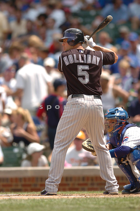 MATT HOLLIDAY, of the Colorado Rockies , in action during the  Rockies  game against the Chicago Cubs in Chicago, IL  on June 27,  2007...Cubs  win 6-4...CHRIS BERNACCHI/ SPORTPICS..