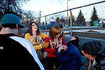 Kendrick Brinson.LUCEO..Trevor White (left to right), 14, laughs as Ashley Thorton, 13, tries to stop Randie Shipp, 13, from play-fighting Ben Putman, 14, as Jacob Clark, 15, and Robbie Reynolds, 14 watch at the Williston Skatepark in Williston, North Dakota, January 2012. Williston is currently experiencing an influx of people relocating there for the town's third oil boom. ..Model Released: no.Assigning Editor: Michael Wichita.