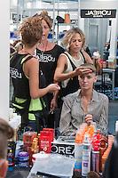 Cibeles catwalk with fashion show of Roberto Verino. Backstage. on Agost 31th 2012...Photo: (ALTERPHOTOS/Ricky) /NortePhoto.com<br /> <br /> **CREDITO*OBLIGATORIO** *No*Venta*A*Terceros*<br /> *No*Sale*So*third* ***No*Se*Permite*Hacer Archivo***No*Sale*So*third*
