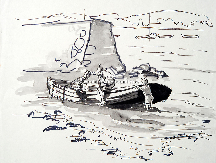 BNPS.co.uk (01202 558833)<br /> Pic: MaryGernat-How/BNPS<br /> <br /> ***Single Use - Not For Archive***<br /> <br /> Mary's sketch of her boys playing on a boat.<br /> <br /> The real family behind Enid Blyton's iconic book covers has been revealed for the first time thanks to a hidden archive of sketches and family photos.<br /> <br /> Mary Gernat, who created the paperback covers for about 100 children's books in the 1960s, would get her young sons to stop mid-play and pose for her while she quickly sketched ideas for books like The Famous Five, the Secret Series, St Clare's and Malory Towers.<br /> <br /> Her son Roger How, 58, has now unveiled some of his mother's never-seen-before original sketches and finished book drafts which capture the classic images of childhood adventure he and his brothers helped create.