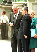 Washington, DC - July 19, 1999 -- United States President Bill Clinton and Prime Minister Ehud Barak of Israel share some final thoughts following their joint press conference on Monday, 19 July, 1999.  U.S. Secretary of State Madeleine Albright looks on from right..Credit: Ron Sachs / CNP