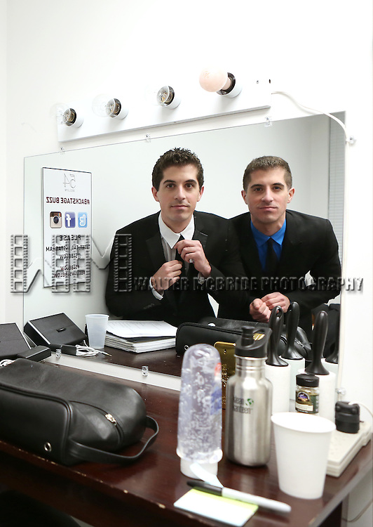 """Anthony Nunziata and Will Nunziata backstage before performing """"Broadway, Our Way"""" at 54 Below on January 9, 2014 in New York City."""