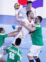 Algeria's Saci Boultif (r) and Croatia's Drago Vukovic during 23rd Men's Handball World Championship preliminary round match.January 14,2013. (ALTERPHOTOS/Acero) 7NortePhoto
