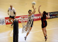 29.09.2014 Action during the  Counties Manukau v Eastern Waikato duing the Lion Foundation Netball Champs at the Trusts Stadium in Auckland. Mandatory Photo Credit ©Michael Bradley.