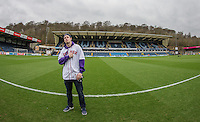 Mackie Jackson (Twitters American Soccer Fan) poses for a Photo pre match ahead of the Sky Bet League 2 match between Wycombe Wanderers and Crawley Town at Adams Park, High Wycombe, England on 25 February 2017. Photo by Andy Rowland / PRiME Media Images.