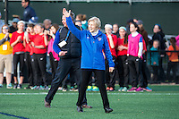 Allston, MA - Sunday, April 24, 2016: US Senator Elizabeth Warren (MA) enters the field for  opening ceremonies. The Boston Breakers play Seattle Reign during a regular season NSWL match at Harvard University.