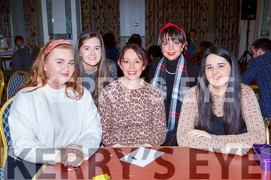 Seorcha O'Connor, Karina Mulchinock, Niamh O'Carroll, Siobhan Buston and Olwyn Trant at the Killarney Musical Society table quiz in the Dromhall Hotel on Sunday