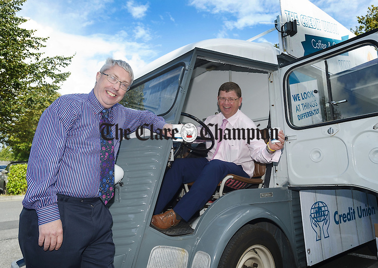 Raymond O Mahony, Credit Union chairman and Louis Fay, Credit Union manager during the Coffee and Crepes event at St Francis Credit Union, Ennis. Photograph by John Kelly.