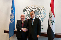 New York City, NY, 26 September 2014 The secretary-General Ban Ki Moon with Mr Mohammed Fuad Masum President of  Iraq during the 69th United Nations General Assembly at United Nations Headquarters.  Photo by Joana Toro VIEWpress.