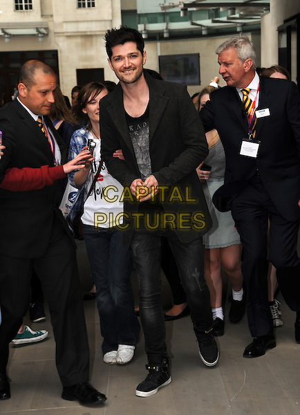 Danny O'Donoghue of The Script<br /> At BBC Radio 1, London, England.<br /> June 7th, 2013<br /> full length jacket black jeans denim   <br /> CAP/AOU<br /> &copy;AOU/Capital Pictures