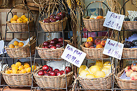 Fruit for sale in front of a small grocery store in New York City