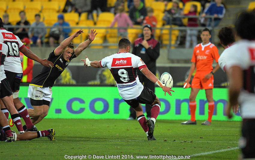Bryn Hall puts up a kick during the Mitre 10 Cup rugby union match between Wellington Lions and North Harbour at Westpac Stadium, Wellington, New Zealand on Saturday, 3 September 2016. Photo: Dave Lintott / lintottphoto.co.nz