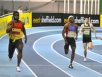 Photo: Paul Greenwood/Richard Lane Photography. Aviva World Trials & UK Championships. 14/02/2010. .Leon Baptiste, left, on his way to winning the Mens 200m.
