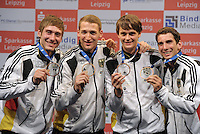 European Championships Fencing 2010 / Fecht Europameisterschaft 2010 in Leipzig - Competition Championat d'europe - im Bild: 3rd place in competition mens sabre team - the German team with Max Hartung, Nicolas Limbach, Benedikt Beisheim and Björn Hübner (left to right) - medal ceremony . Foto: Norman Rembarz..Norman Rembarz , Autorennummer 41043728 , Augustenstr. 2, 04317 Leipzig, Tel.: 01794887569, Hypovereinsbank: BLZ: 86020086, KN: 357889472, St.Nr.: 231/261/06432 - Jegliche kommerzielle Nutzung ist honorar- und mehrwertsteuerpflichtig! Persönlichkeitsrechte sind zu wahren. Es wird keine Haftung übernommen bei Verletzung von Rechten Dritter. Autoren-Nennung gem. §13 UrhGes. wird verlangt. Weitergabe an Dritte nur nach  vorheriger Absprache..