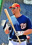 22 April 2010: Washington Nationals' first baseman Adam Dunn awaits his turn in the batting cage prior to a game against the Colorado Rockies at Nationals Park in Washington, DC. The Nationals were shut out by the Rockies 2-0 closing out their series with a 2-2 game split. Mandatory Credit: Ed Wolfstein Photo