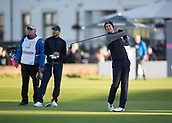 6th October 2017, Carnoustie Golf Links, Carnoustie, Scotland; Alfred Dunhill Links Championship, second round; Actor Matthew Goode tees off on the first hole during the second round at the Alfred Dunhill Links Championship on the Championship Links, Carnoustie